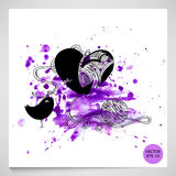 Illustration of bird and heart. Abstract illustration bird and heart on watercolor background. Love Vector Illustration
