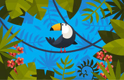 Illustration with bird and leaves. Clorful symmetric illustration with toucan and exotic leaves as a frame Stock Photography