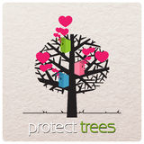 Illustration with birdhouses on a tree. Royalty Free Stock Photos