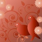 Illustration of birds. Illustration of 2 birds, flowers and swirling vines in red tones. Editable Royalty Free Stock Image