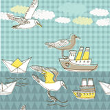 Illustration of birds, boats, clouds Stock Photos