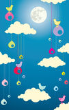 Illustration of birds in the clouds Stock Photo