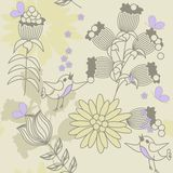 Illustration with birds and flowers Stock Images