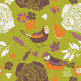 Illustration of birds, flowers, cut out hearts Royalty Free Stock Image