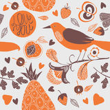 Illustration of birds, flowers, leaves, fruits Stock Photography