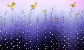Illustration of birds sing on convallaria flower. Illustration of birds standing on convallaria flower in foggy spring morning Stock Image