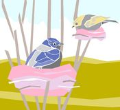 Illustration-birds in their nests. Illustration of young birds in their nests over the hills Stock Image