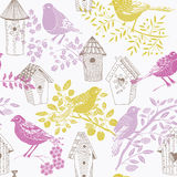 Illustration of birds, twigs, birdhouses Royalty Free Stock Images