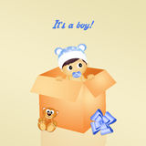 Illustration of birth announcement Stock Photography