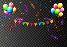 Birthday Balloon With Confetti Background Royalty Free Stock Images