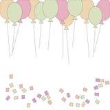 Illustration, birthday , birthday card, colorful card, confetti and ballons. Happy birthday Stock Image