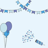 Illustration, birthday , birthday card, colorful card, confetti and ballons. Happy birthday Stock Photography