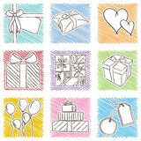 Illustration of birthday icons - hand drawn style Stock Images