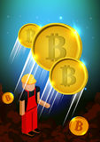 Illustration of rocket flying over clouds with bitcoin icon. Illustration of bitcoin flying over clouds. Bitcoin mining concept, vector. cartoon flat Stock Images