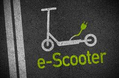 Illustration with asphalt and e-scooter royalty free stock photo