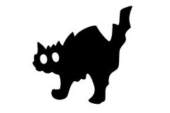 Illustration of a black cat. Isolated in white - one of the symbols of halloween stock illustration