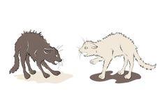 Illustration - black cat against white cat Royalty Free Stock Images