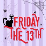 Black cat and friday the 13th. An illustration of black cat with friday the 13th word. illustration royalty free illustration