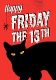 Black cat and friday the 13th. An illustration of black cat with friday the 13th word. illustration vector illustration