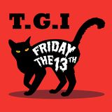 Black cat and friday the 13th. An illustration of black cat with friday the 13th word on it`s body. illustration vector illustration