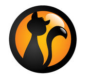 Black cat sign. Illustration of black cat on orange badge or sign, white background stock illustration