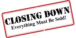 Closing down sign. An illustration of a black closing down sign on a white background Royalty Free Stock Images