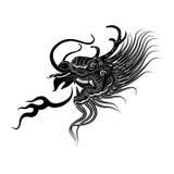 Illustration of  black dragon head icon  Stock Photo