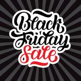 Illustration of black friday sale hand-made lettering on black rays background for logo, banners, labels, badges royalty free stock photos