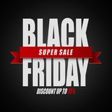 Black Friday super sale. Discount up to 75% on black background. Illustration of Black Friday super sale. Discount up to 75% on black background stock illustration