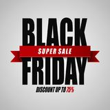 Black Friday super sale. Discount up to 75% on white background. Illustration oF Black Friday super sale. Discount up to 75% on white background vector illustration