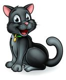 Black Cat Cartoon Character. An illustration of a black Halloween witches cat cartoon character Stock Photography