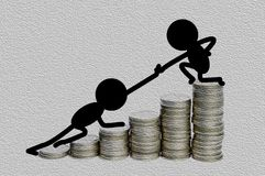 illustration of black man help friend climbing to the top of money Stock Image