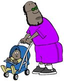 Dad pushing his child in a stroller royalty free illustration