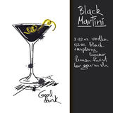 Illustration with Black Martini cocktail Royalty Free Stock Images