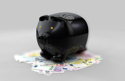 Illustration of Black piggy bank of money coins isolated over the blured gray background Royalty Free Stock Photos