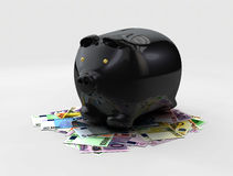 Illustration of Black piggy bank of money coins isolated over the gray background Stock Image