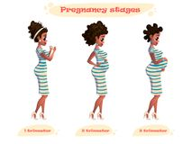 Illustration of black pregnant woman. Young african-american pregnant woman. flat design illustration isolated on white background. Illustration of black Stock Image