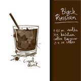 Illustration with Black Russian cocktail Stock Photography
