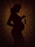 Illustration of black silhouette of pregnant woman Royalty Free Stock Photo