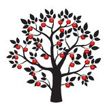 Illustration of Black Tree and Red Apples. Stock Photo