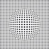 Bulging grid. Illustration of a black and white grid design with a bulging round sphere in the middle Stock Images