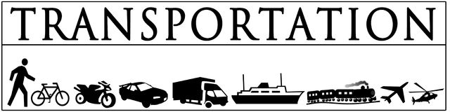 Illustration - Black White Images of Transportation Stock Photography