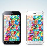 Illustration of Black and White Modern Smart Phone Stock Photography