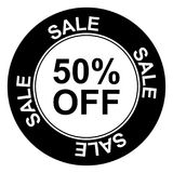 Black and white 50% off sign. An illustration of a black and white 50% off sign Stock Photo
