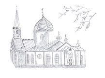 Illustration black and white sketch drawing pencil a wooden church hatching vector illustration