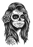 Illustration of black and white skull girl with rose in hairs Stock Photos
