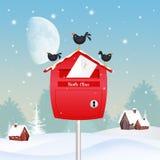 Blackbirds on the mailbox in winter landscape. Illustration of blackbirds on the mailbox in winter landscape vector illustration