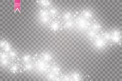Illustration blanche d'abrégé sur vague de scintillement de vecteur Particules de scintillement d'étoile de traînée blanche de la Photos libres de droits