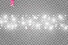 Illustration blanche d'abrégé sur vague de scintillement de vecteur Particules de scintillement d'étoile de traînée blanche de la Images stock