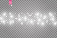 Illustration blanche d'abrégé sur vague de scintillement de vecteur Particules de scintillement d'étoile de traînée blanche de la Images libres de droits